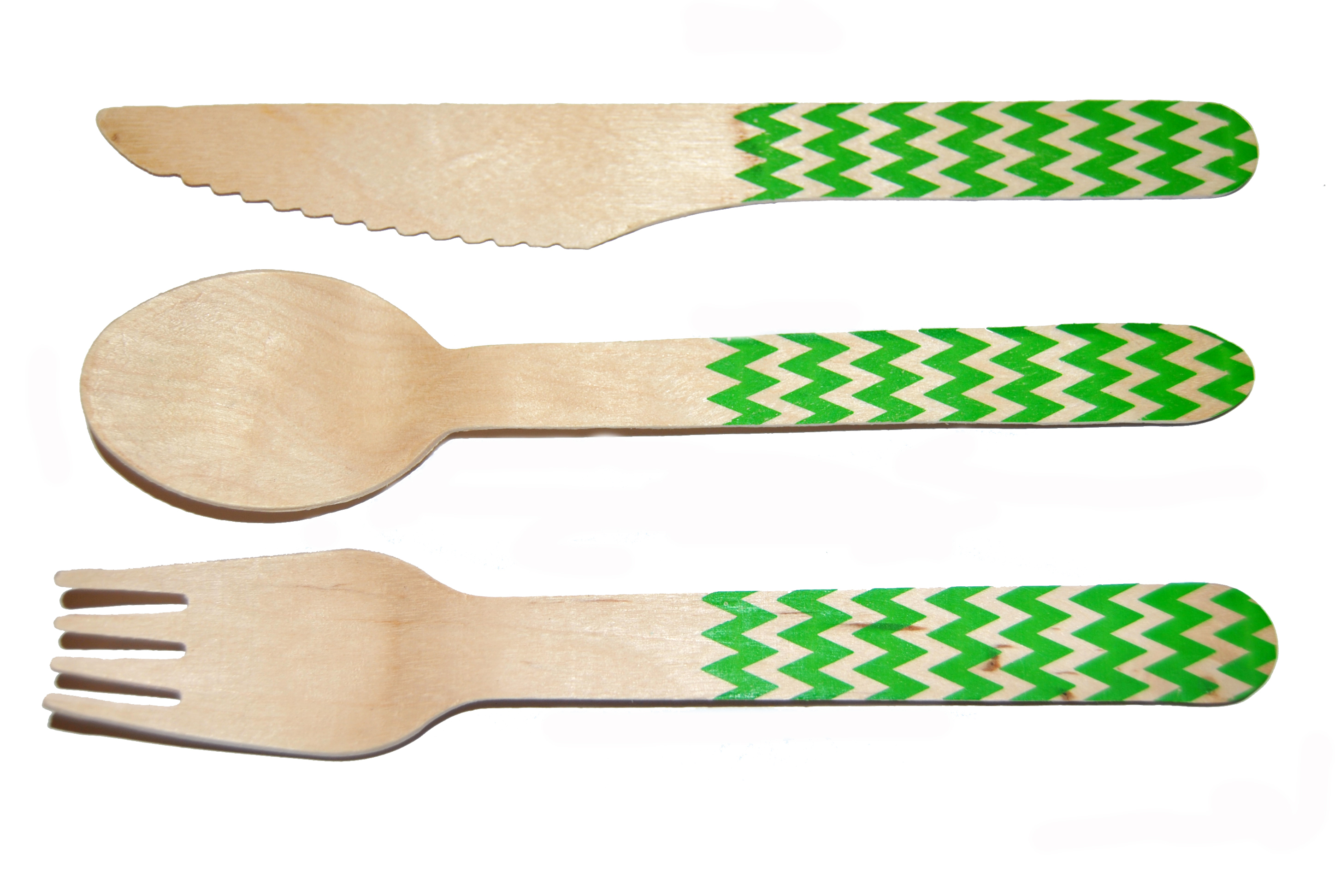 Chevron Green Printed Cutlery Kit-36 Count Printed Wooden Cutlery
