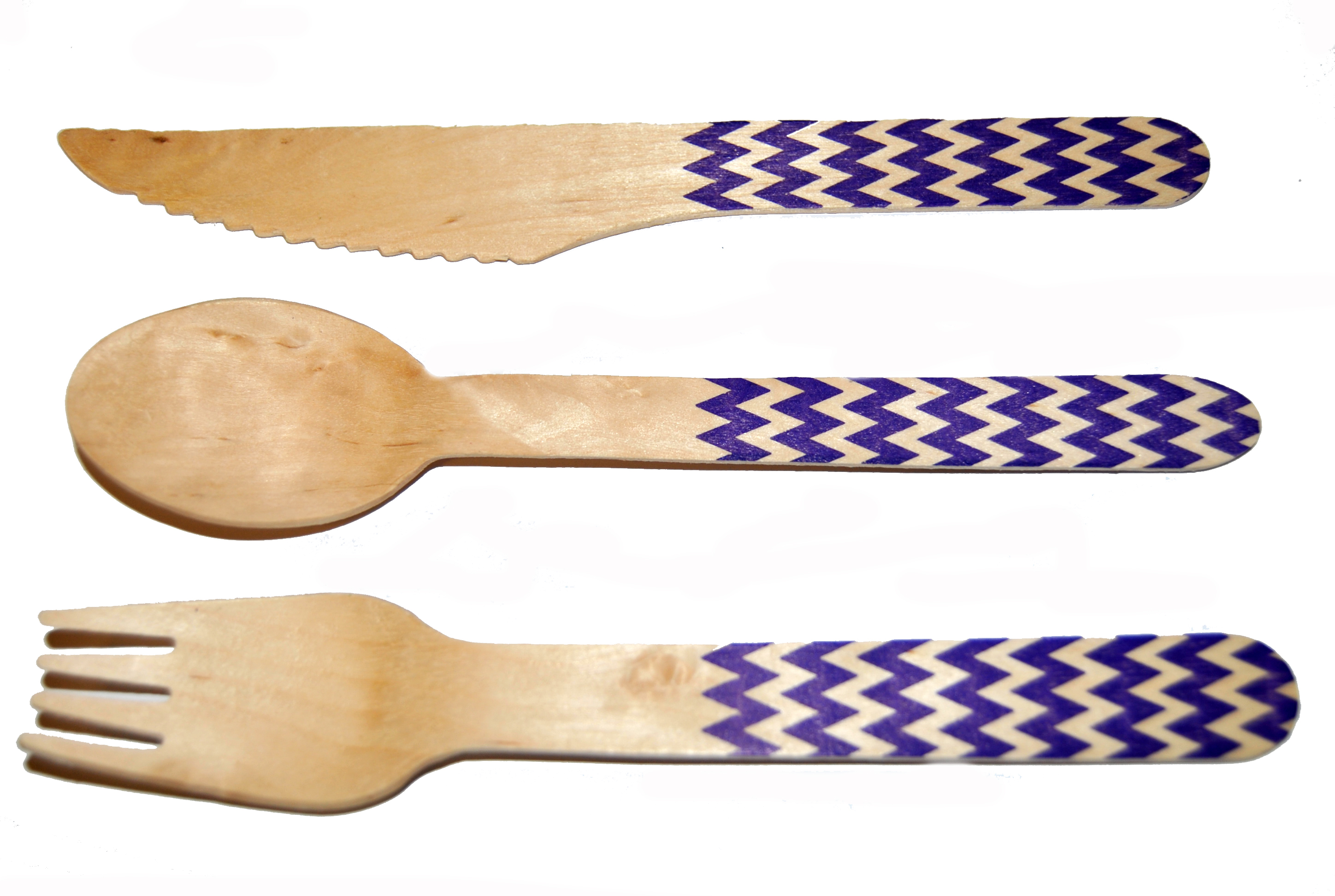 Chevron Purple Printed Cutlery Kit-36 count Printed Wooden Cutlery