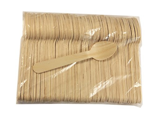 """5 1/2"""" Wood Cutlery Spoons Case of 100bags/100ct=10,000ct (Item# Green Spoon 140)"""