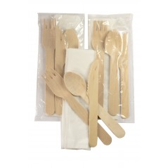 """6"""" Green Cutlery Kit Includes Knife, Fork, Spoon and Napkin in a Biodegradable Bag  (Pack of 50) (Item# Cutlery Kit 50)"""