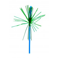 "8"" Blue Palm Straws Green Frons 48ct"