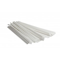 "7 3/4"" Clear Straight Cut Paper Wrapped Straws Case of 24 boxes/500ct = 12,000ct"