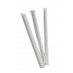 "8"" Milkshake Clear Straight Cut Paper Wrapped Straws Case of 25 boxes/300ct = 7,500ct"