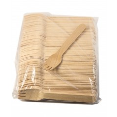 """5 1/2"""" Wood Cutlery Forks Box of 1,000ct (Item# Green Fork 140)"""