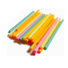 "9 "" Extra Wide Assorted Wrapped Neon Milkshake/Smoothie Straws-350ct"