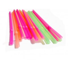 "9"" Unwrapped Neon Flex Straws - 1250ct"