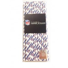 NFl Disposable Paper Straws- New York Giants 24 pack