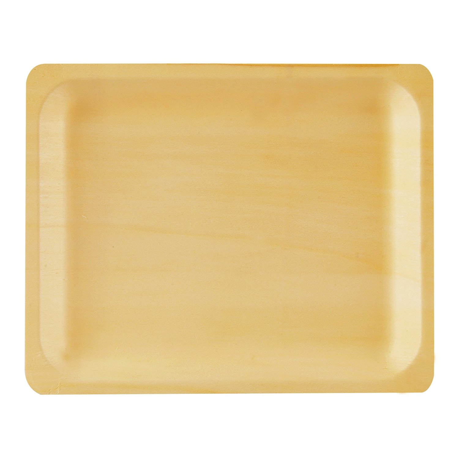 """10"""" Wooden Disposable Rectangular Plates  Perfect Ware( Pack of 50ct)"""