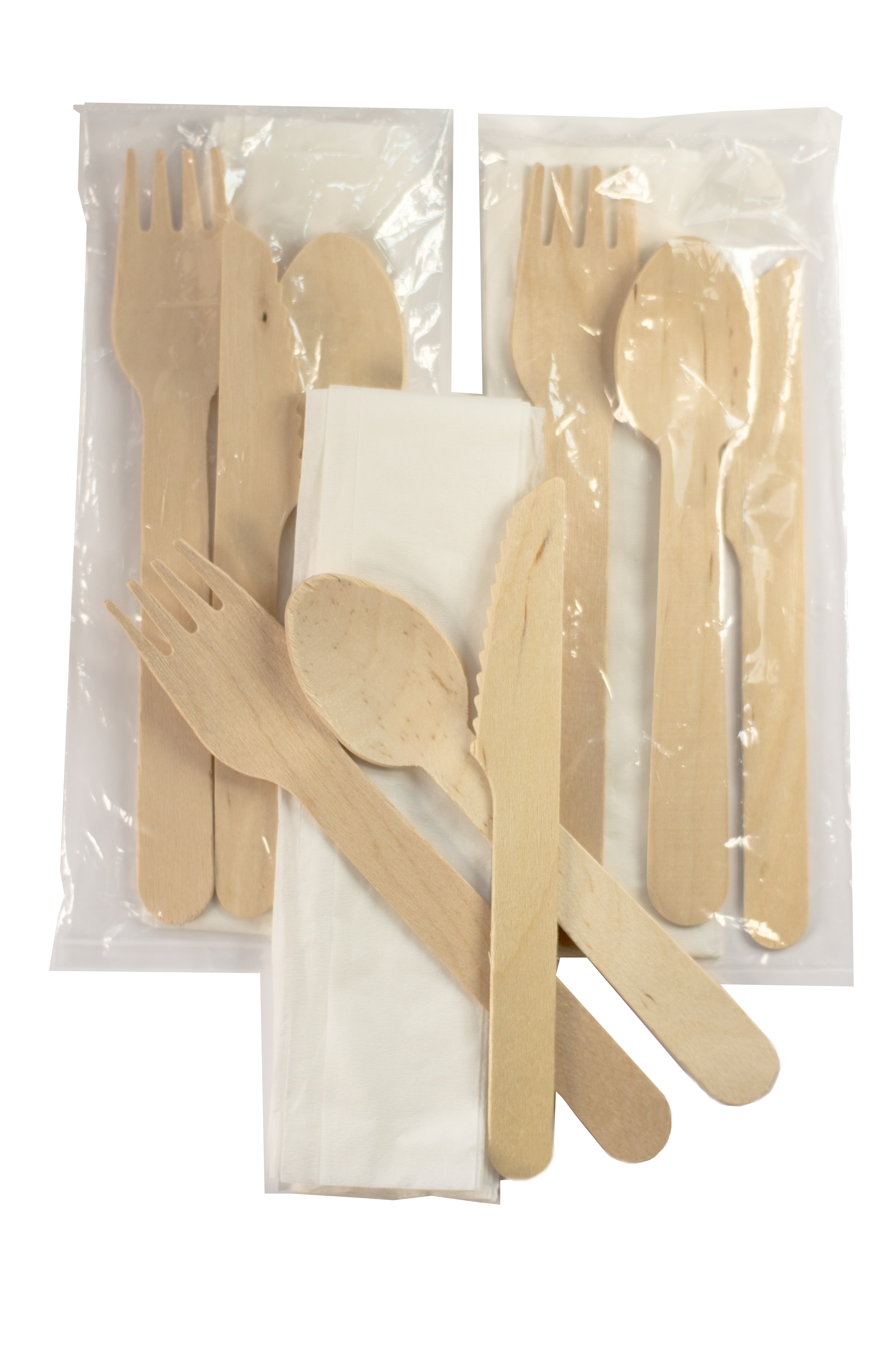 "6"" Green Cutlery Kit Includes Knife, Fork, Spoon and Napkin in a Biodegradable Bag  (Pack of 50) (Item# Cutlery Kit 50)"