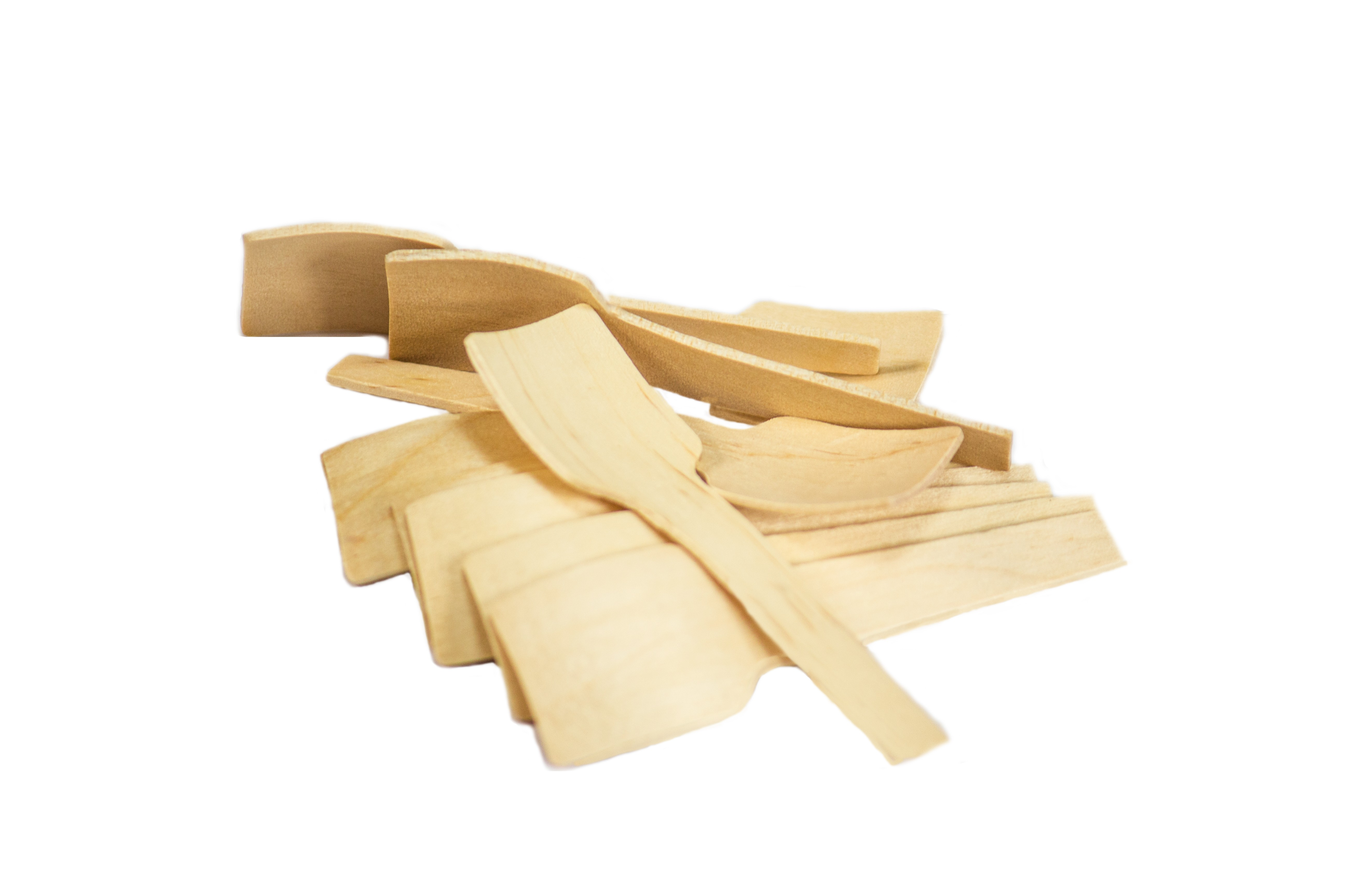 """2 3/4"""" Square Wood Taster Spoons Case of 100bags/100ct =10,000ct (Item# Green Spoon 70)"""
