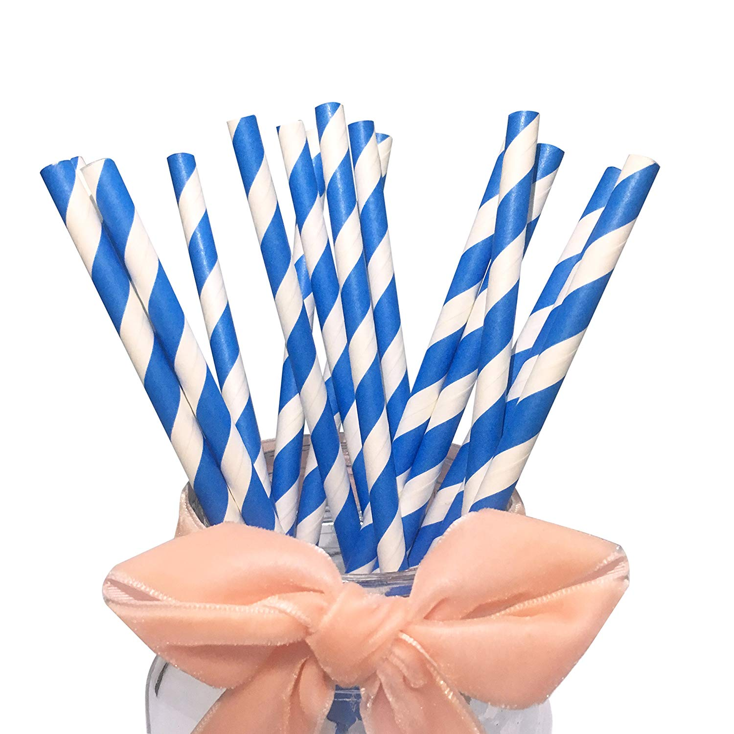 Paper Straw 5.75 Blue and White Stripe.- Cocktail Coffee Paper Straw. Pack of 5000 count