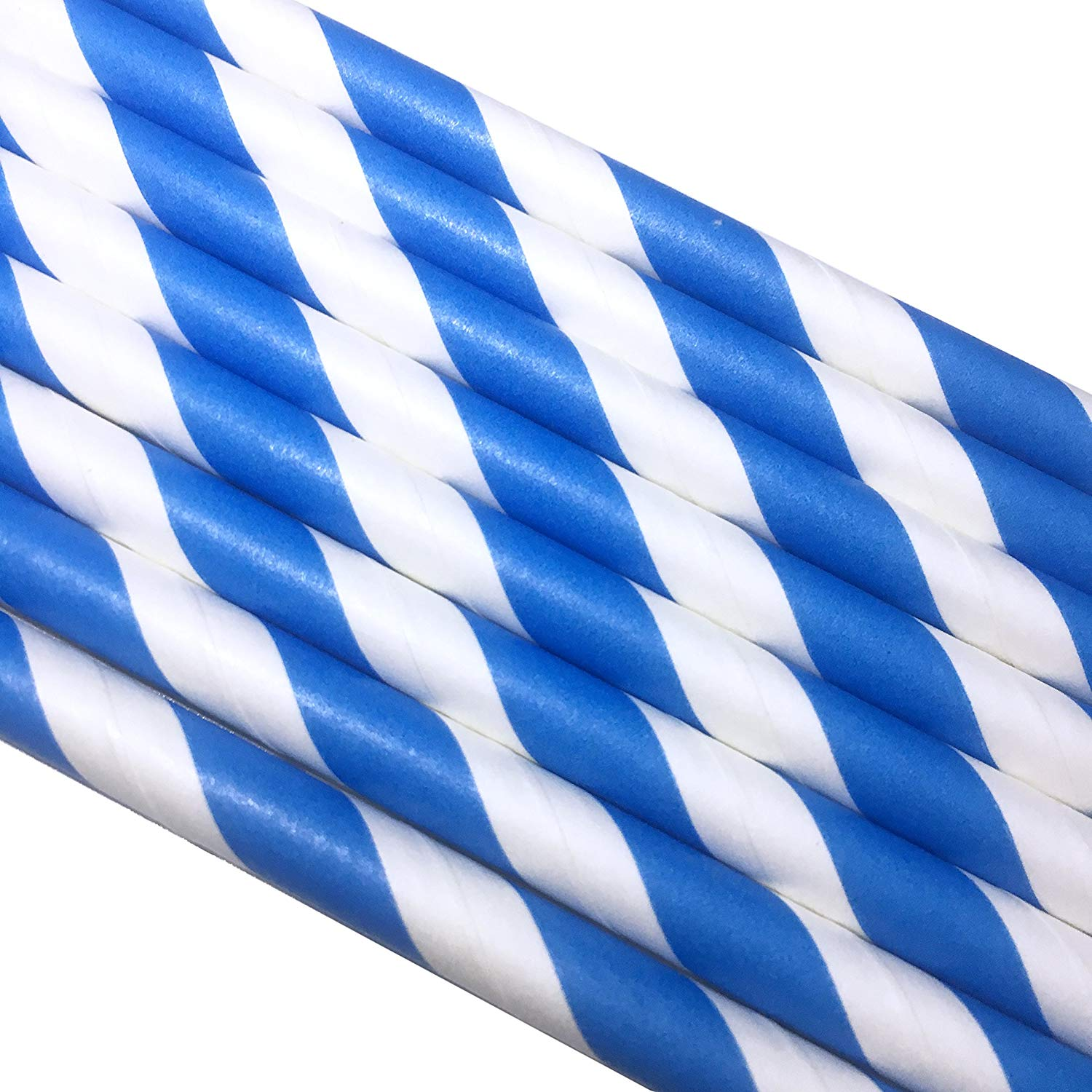 Paper Straw 5.75 Blue and White Stripe.- Cocktail Coffee Paper Straw. Pack of 500 count