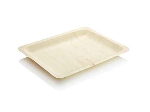 "7"" Wooden Disposable Rectangular Plates Perfect Ware( Pack of 50)"