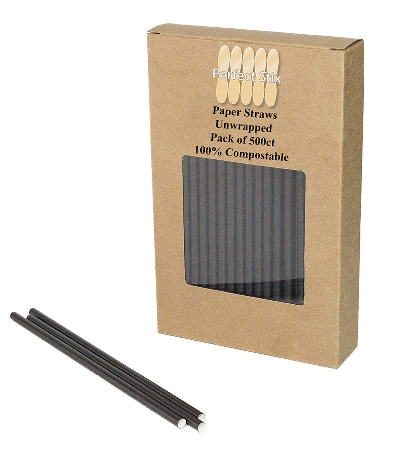 Paper Straw 7.75 Inch Unwrapped Jumbo Black - 1000ct per case
