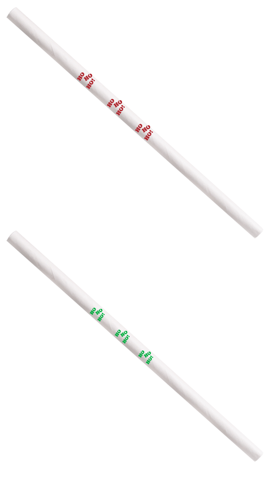 White Cocktail 5.75 with HO HO HO Print in Red and Green- Unwrapped
