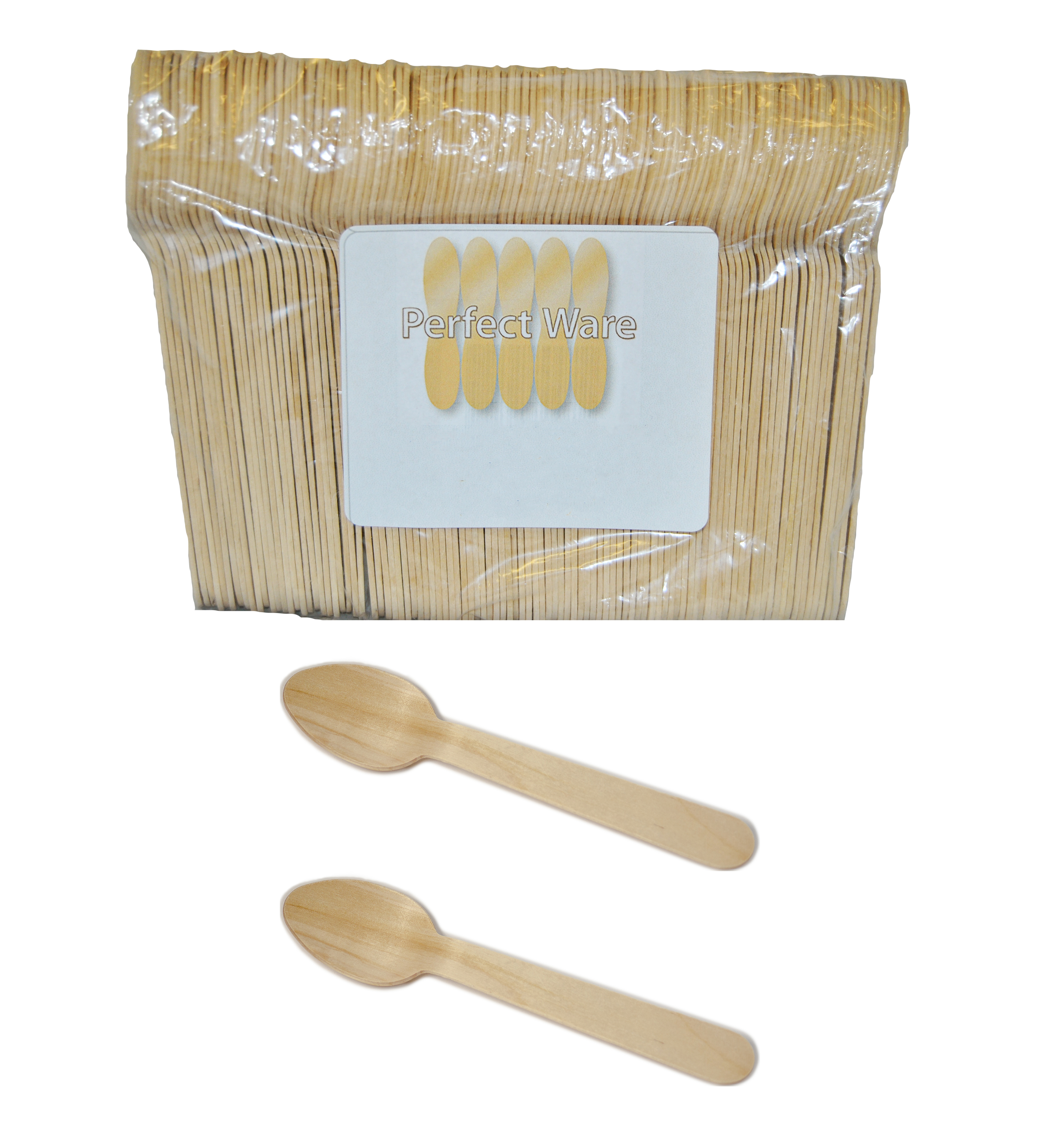"""6"""" Wooden Premium Perfect Ware Cutlery Spoons. Case of 10,000ct (Item# Perfect Ware 165SP)"""