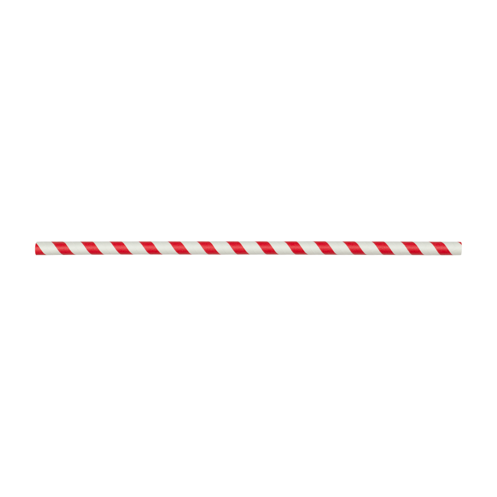Paper Straw 10.25 Inch Giant Red and White Stripe- Pack of 300ct Straws White Unwrapped