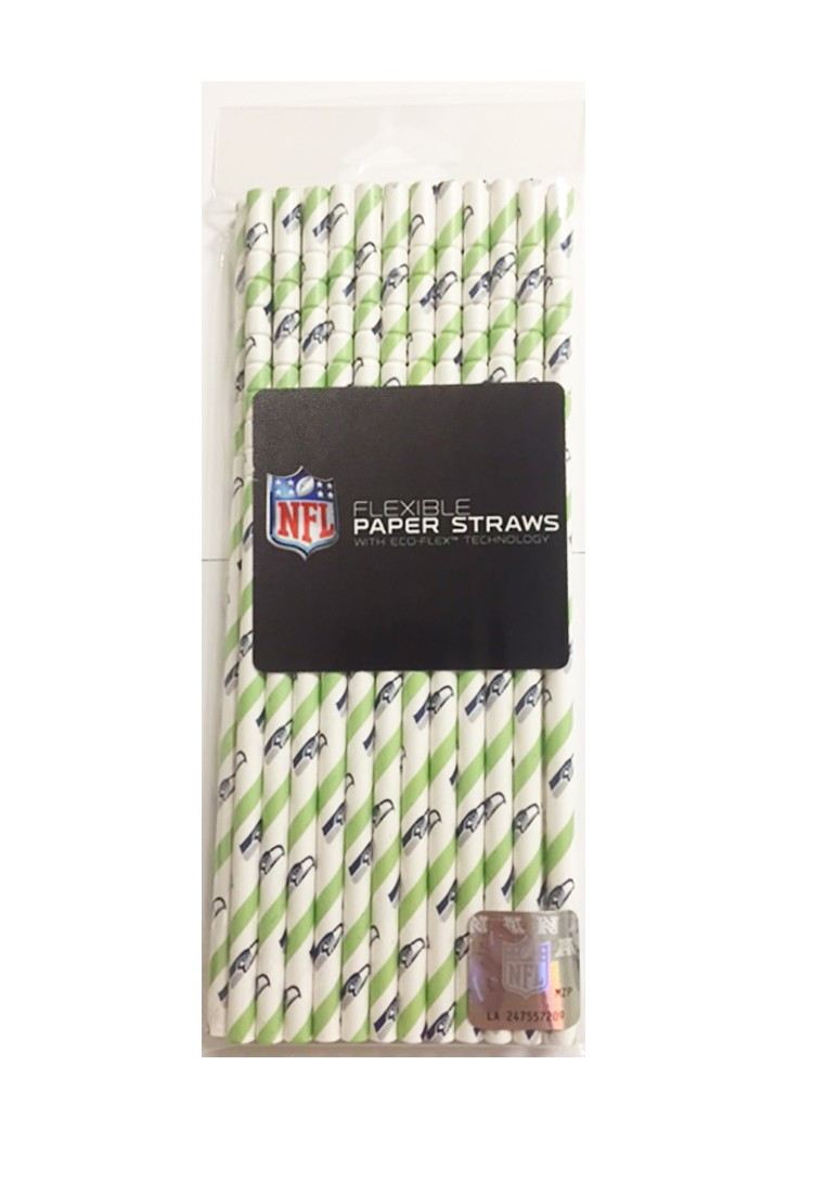 NFl Disposable Paper Straws- Seattle Seahawks 24 pack