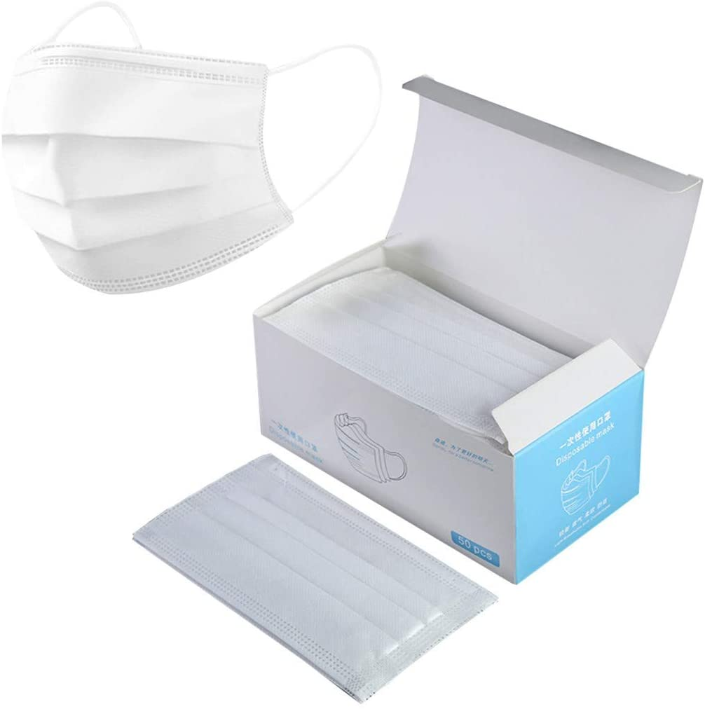 Disposable Earloop Face Mask- White in Color-Pack of 100