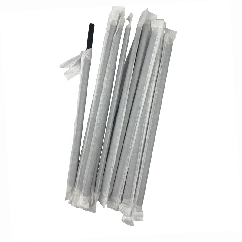 7.75 Wrapped Paper Straw Black-Pack of 500 Straws