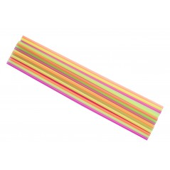 "20"" Neon Assorted Colors Straight Cut Plastic Straws Box of 500ct"