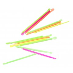 "8"" Neon Unwrapped Spoon Straws Assorted Colors Box of 4 boxes/400ct = 1600ct"