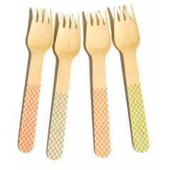 "Trellis Printed Cutlery, 6"" Forks, Assorted, Green (Pack of 24)"