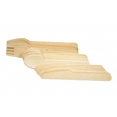 "6"" Wooden Cutlery Picnic Kit Case of 4 bags of 36cts = 144 total pieces (Item# Picnic Kit 36-144)"