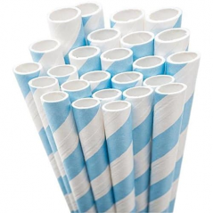 Paper Straw 10.25 Inch Giant Blue and White Stripe- Pack of 300 ct Straws White Unwrapped