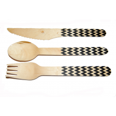 Chevron Black- 36 count  Wooden Cutlery Kit