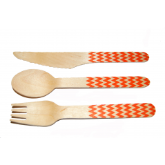 Chevron Orange Printed Cutlery Kit-36 count Printed Wooden Cutlery with Orange Print