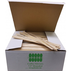 """7 1/2"""" Coffee Stirrers With Round Ends Box of 1,000ct (Item# FS204)"""