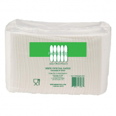 Paper Cocktail Beverage Napkin White 1 ply- Pack 8-500ct Total 4000 Napkins